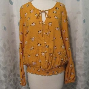 Mudd Long Sleeve Floral Blouse XXL NWT